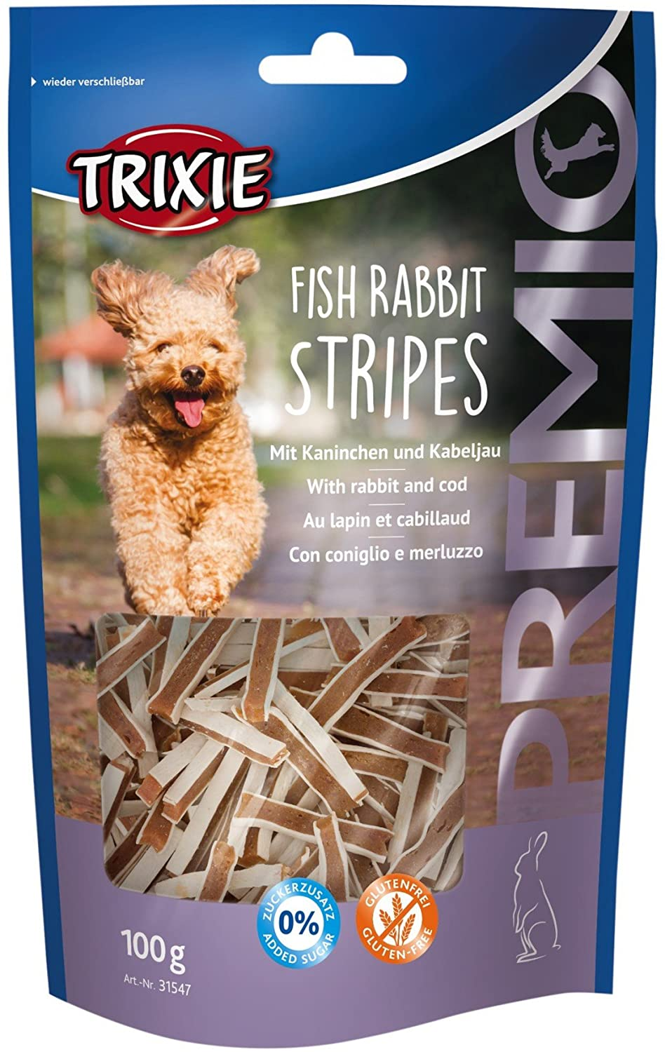 TRIXIE PREMIO Fish Rabbit Stripes, 100 g